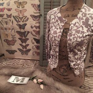 """J.Crew"" Lavender Purple Pattern Cardigan Sweater"